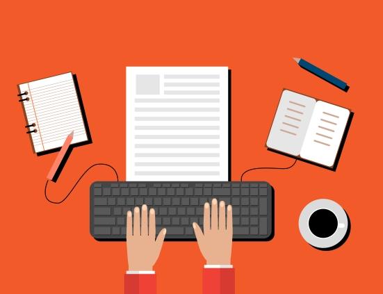 Creative Content Writing, Blogging Post, Digital Media Flat Vector Illustration