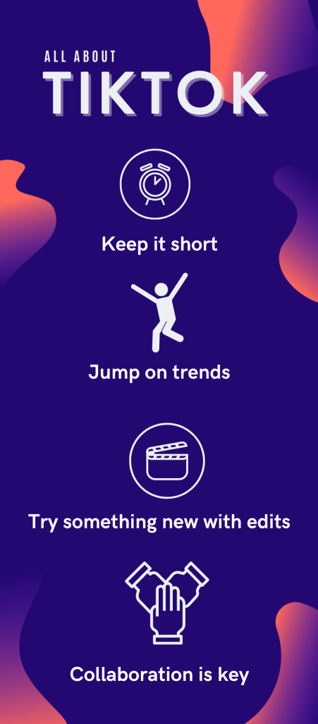 Infographic  Headline: All About TikTok   1. Keep it short  2. Jump on trends  3. Collaboration is Key